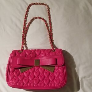 Betsey Johnson Solid Pink Purse With Gold Accents